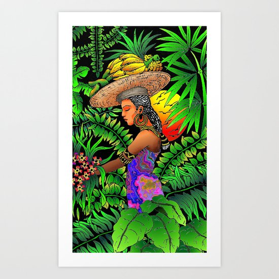 Exotic Woman on Tropical Rain Forest Art Print