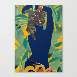 Jungle Pop! Blue Bather with Palms Canvas Print