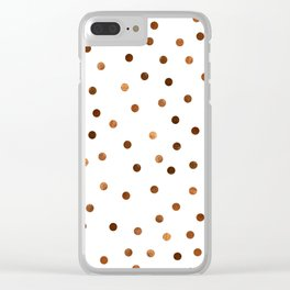 Copper Dots Pattern Clear iPhone Case