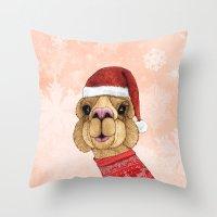 alpaca Throw Pillows featuring Alpaca Christmas by Barruf
