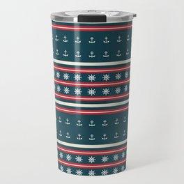 Ships Ahoy Blue/Red Stripe Travel Mug