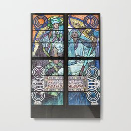 Alfons Mucha vitraux  stained glass windows Prague cathedral saint Guy Metal Print