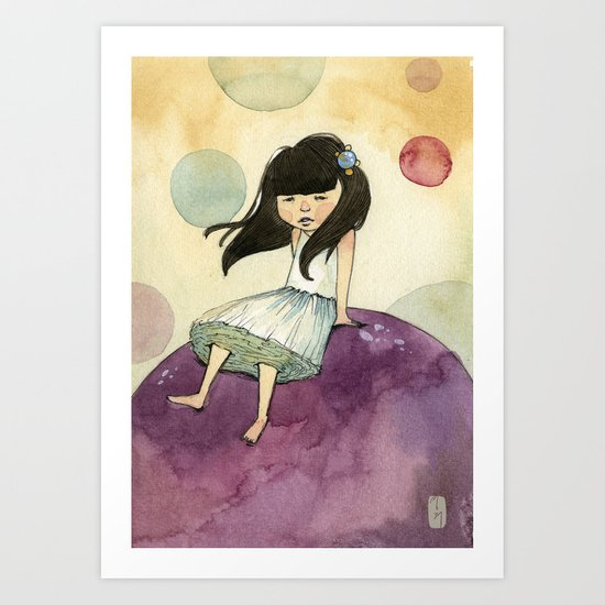 a bubble girl Art Print