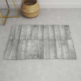 Wood Planks in black and white Rug