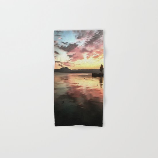 Sunset Reflected On Water Hand & Bath Towel