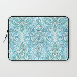 Turquoise Blue, Teal & White Protea Doodle Pattern Laptop Sleeve