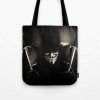 vendetta Tote Bags featuring V for Vendetta (e5) by Ezgi Kaya
