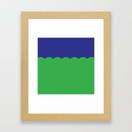 Scalloped - Kelly Green & Navy Framed Art Print