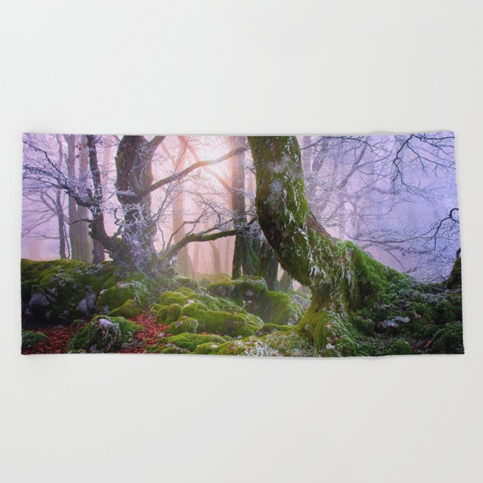 Fantasy Forest #frost Beach Towel