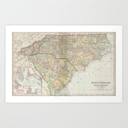 Vintage Map of The Carolinas (1891) Art Print