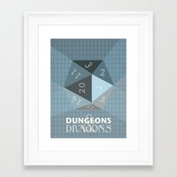 dungeons and dragons Framed Art Prints featuring Dungeons & Dragons Die by Pan and Scan