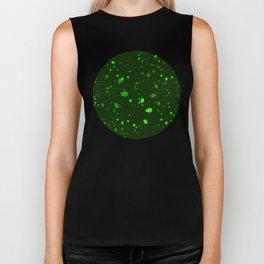 Green glowing petals and drops. Biker Tank
