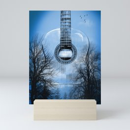 music blue Mini Art Print
