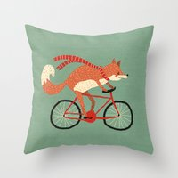 mr fox Throw Pillows featuring mr. fox by tesslucia