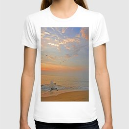Sunrise at the ocean with jetty and birds - minimalist landscape photography T-shirt