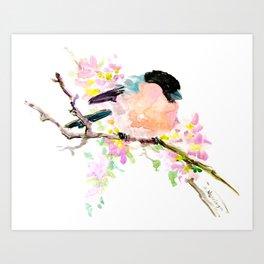 cute bird art, Bullfinch and Spring Art Print