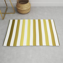 Gold and White Large Summer Beach Hut Stripes Rug