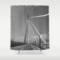 bridge Shower Curtains featuring Bridge by Pauline Gauer