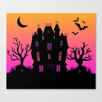 haunted mansion Canvas Prints featuring Haunted Silhouette Rainbow Mansion by rainbowdreams