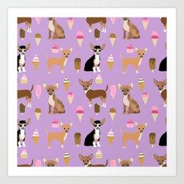 Chihuahua ice cream sweet treat summer food dog breed dogs pets Art Print