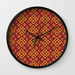 Orange Diamond Tribal Pattern Wall Clock