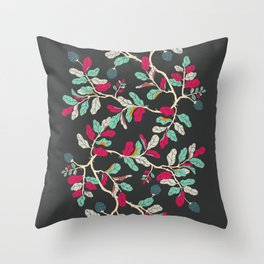 Minty Pinky Branches Throw Pillow