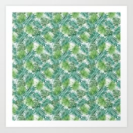 Mini Green Monstera Tropical Plant Pattern Art Print