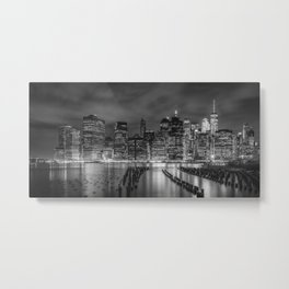NEW YORK CITY Monochrome Night Impressions | Panoramic Metal Print