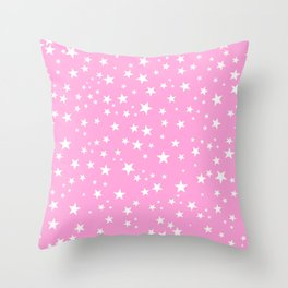 Space and stars pink background Throw Pillow