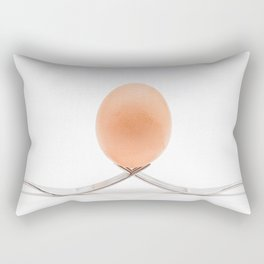egg on two semetriche forks with a white background Rectangular Pillow