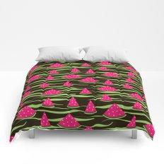 Watermelon on black background . 1 . Comforters