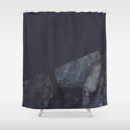Marble Geometric Navy Blue Indigo Shower Curtain
