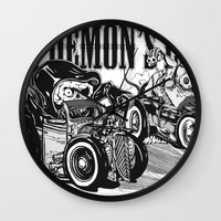 pocket fuel Wall Clocks featuring Gimme Fuel! by Trav Z'Anger