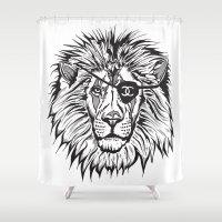 leon Shower Curtains featuring Leon The Lion by Thompson ET Julienne