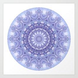 Light Blue, Lavender & and White Mandala 02 Art Print