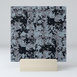 Silver Frost and Black Ice Abstract Pattern Mini Art Print