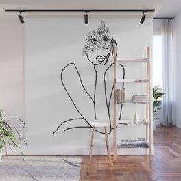 Minimal Line Floral Women Drawing Wall Mural