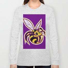 bee mascot yellow purple Long Sleeve T-shirt