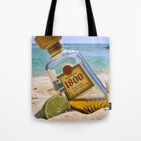 tequila Tote Bags featuring Tequila! by Brocoli ArtPrint