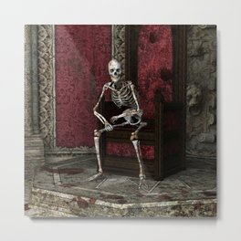 Gothic Waiting Skeleton Metal Print
