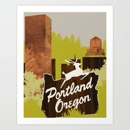 White Stag Sign, Portland Oregon Art Print