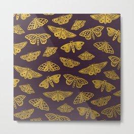 Golden Moths in Purple Metal Print