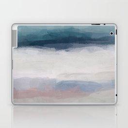 Dark Teal Blue, White, Pink, Light Blue Modern Wall Art, Ocean Waves Diptych Nursery Beach Decor Art Laptop & iPad Skin