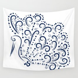 Blue Royal Bird Wall Tapestry