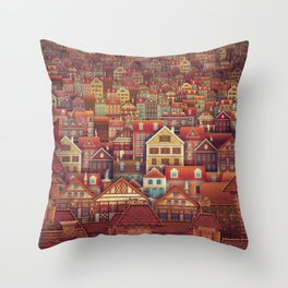 Cute City Street Scene ,Many Houses Throw Pillow