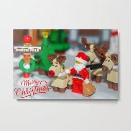 Santa and Rudolf Metal Print