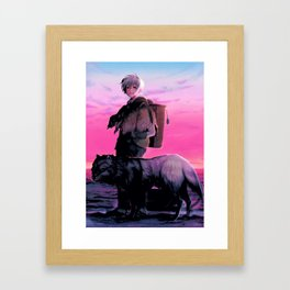 A Boy And His Wolf Framed Art Print