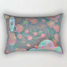 Rocket and Roses Landscape Print Rectangular Pillow