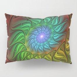 Colorful Spiral Fractal Pillow Sham