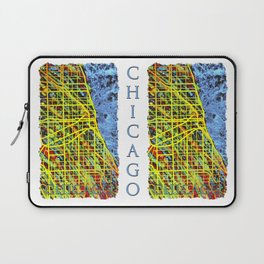 Unique Chicago Illinois Street Map by Mark Compton Laptop Sleeve